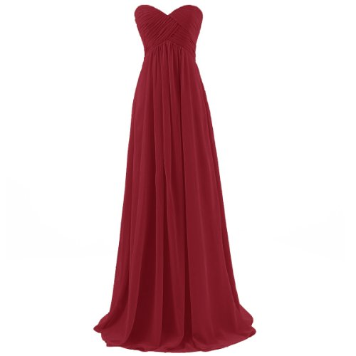 Dressystar Long Chiffon Bridesmaid Prom Dresses Evening Gowns for Juniors Size 6 Burgundy