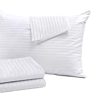 4 Pack Pillow Protectors Queen 20x30 Inches ❤Life Time Replacement❤ Tight Weave 3 Micron Pore Size Enhanced Protection Cotton Sateen High Thread Count 400 Style Zippe (Queen 4 Pack Cotton Sateen)