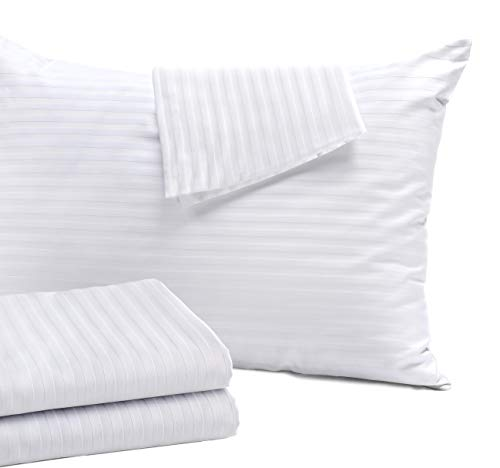 4 Pack Pillow Protectors Standard 20×26 Inches Cotton Sateen Tight Weave High Thread Count 400 Style Zippered White…