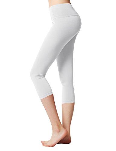 White Capri Leggings (ACTICLO Women's Yoga Pants Workout Capri Leggings Running Tights Inner Pocket White Large)