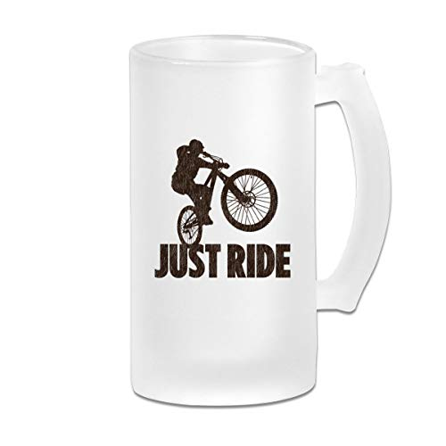 Poii Qon Just Ride Mountain Bike 16 Oz Frosted Glass Stein Wine Beer Mug Great Gift ()