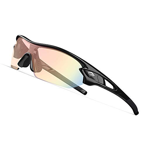 TOREGE Polarized Sports Sunglasses with 3 Interchangeable Lenes for Men Women Cycling Running Driving Fishing Golf Baseball Glasses TR02 (Black&Black&Photochromic Red)