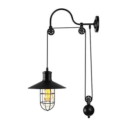 BAYCHEER Industrial Retro Farmhouse Style Lifting Pulley Retractable Adjustable Glass Birdcage Wall Lamp Light Wall Sconce use E26 Light Bulb Socket for Bedroom Restaurant Bar, Black