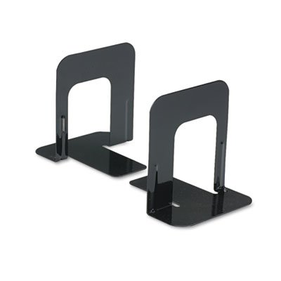 Economy Bookends, Standard, 4 3/4 x 5 1/4 x 5, Heavy Gauge Steel, Black, Sold as 1 Pair, 2 per Pair - Edge Reinforced Bookcase Finish