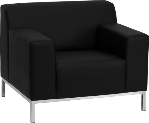 8009 Series (Flash Furniture ZB-DEFINITY-8009-CHAIR-BK-GG Hercules Definity Series Contemporary Black Leather Chair with Stainless Steel)