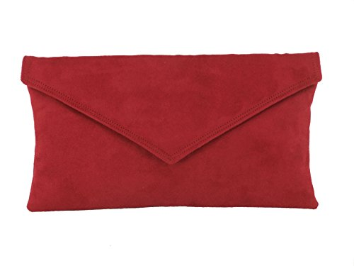 Bag Envelope Dark Red Womens Faux Bag Shoulder Clutch Suede Neat Loni xfYAwExq
