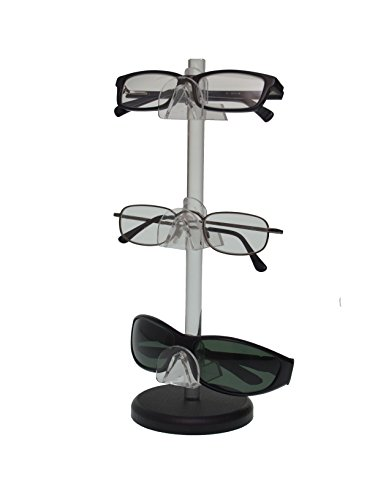 (Marketing Holders 3 Tier Acrylic SUNGLASSES EYEGLASSES display STAND with Black Base Glasses Nose)