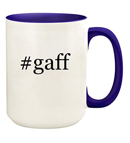 #gaff - 15oz Hashtag Ceramic Colored Handle and Inside Coffee Mug Cup, Deep Purple