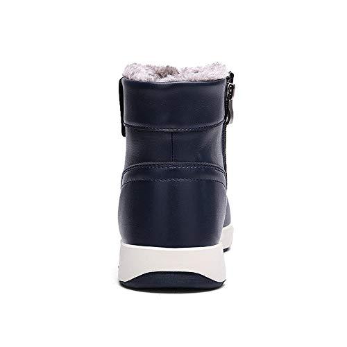 Peluche High All'aperto Impermeabile Antiscivolo Caviglia Uomo Allineato Boots Sneaker Scarponi Stivaletti Caloroso da LANSEYAOJI Pelliccia Invernali Scarpe Neve Pelle Blu di Top qX7ppxf