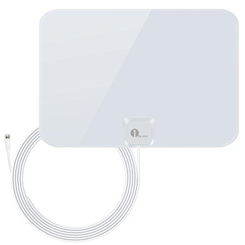 1byone ous00–0565–Shiny Antena HDTV Antena con Super Fino 5m Cable coaxial de Alto Rendimiento, 35 Miles