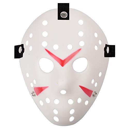 Jason Full Face Head PVC Hockey Mask Novelty Costume Party Horror Prop Halloween Festival Mask (White)
