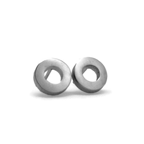 Small Open Silver Circle Stud Earrings Stainless Steel Men Women Hypoallergenic (5/16 inch round)