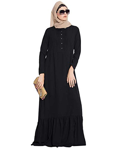 Mushkiya Aini-Frilled Abaya Dress With Pintucks (ABD-085-BLACK)