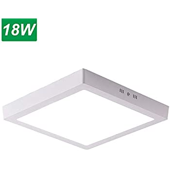 Jaycomey 18W Flush Mount LED Ceiling Light,Square Surface Mounted LED Panel Lamp Fixtures for Bathroom,Kitchen,Closet,Garage,Hallway,Cool White,9 Inches (120W Halogen Bulb Equivalent)