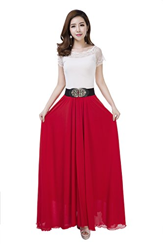 Sissily Women Summer Bow Tie Chiffon High Waist Pleated Big Hem Mopping Floor Length Beach Maxi Skirt with Belt(Large/Red)