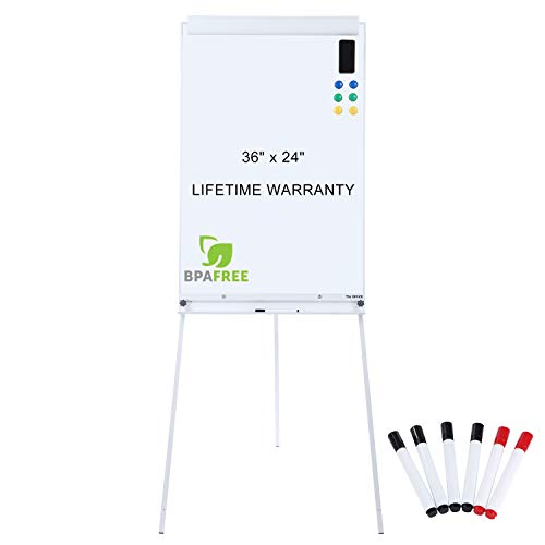 - Magnetic Flip Chart Whiteboard Easel - 36 x 24 Inches Tripod Dry Erase White Board with Stand Height Adjustable by TSJ Office