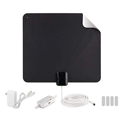 (RCA Indoor TV Antenna Amplified Antenna TV Digital HD - Thin Film Reversible Antenna with HDTV Multi-Directional VHF and UHF Reception and A Large 65 Mile Range from Black (AZON009), Black)