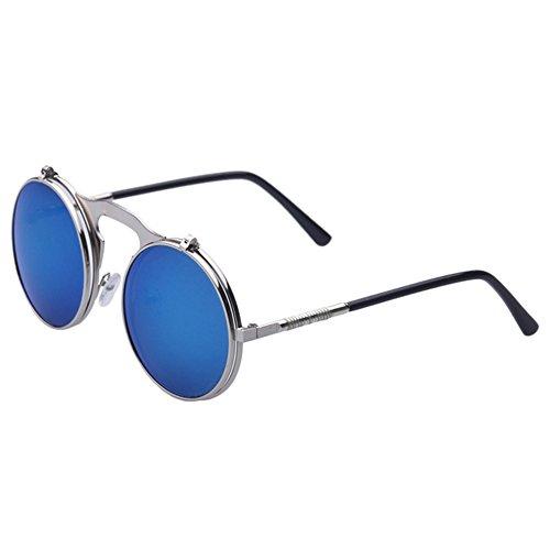 Ice Round M¨¦tal Cercle Flip Lunettes Silver Femmes Blue Vintage soleil Steampunk Hommes Lunettes hibote Up Lunettes de awgvqCC