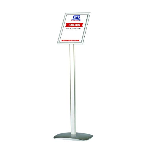 (Advertising Restaurant Sign Display, Silver, 8.5x11 Poster Size, Landscape/Portrait use, Reusable and Durable, Free Standing)