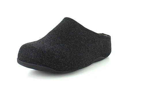 FitFlop Womens Shuv Felt Slip On Clog Shoes Black