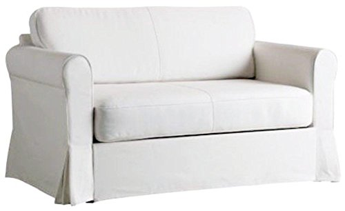 The White Heavy Cotton Hagalund Two Seater Sofa Bed Cover...