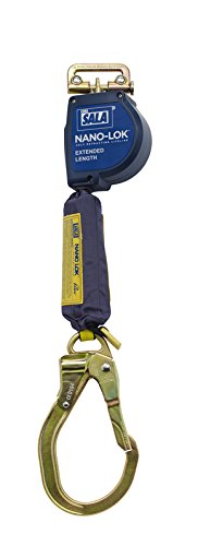 3M DBI-SALA Nano-Lok Extended 3101591 Fall Arrest Safety Clip 9-' Extended Length, Single Leg, Quick Connect Harness Mounting and Locking Nose Steel Rebar End
