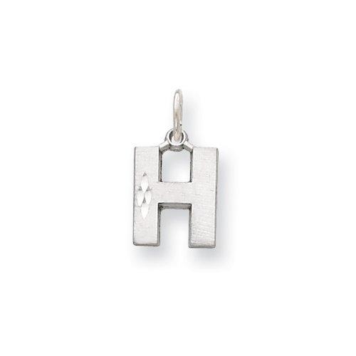 Icecarats Créatrice De Bijoux En Or 14K Solide Blanc Satin Charme H Initiale De Taille Diamant