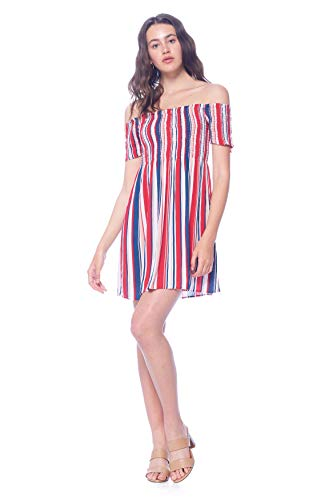 Khanomak Women's Rayon Mini Smocked Striped Ruched Off Shoulder Dress (Red,Small)