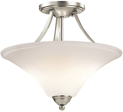 Kichler 43512NI Keiran Semi-Flush 2-Light, Brushed (Uplight Semi Flush)