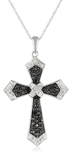 10k White Gold Black and White Diamond Cross Pendant (1/2 cttw, I-J Color, I2-I3 Clarity), 18""