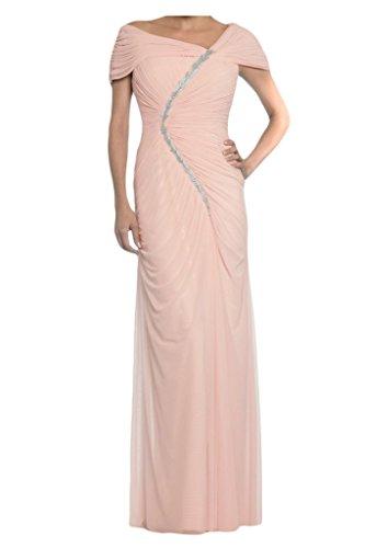 Tuscany novia Chic gasa madre de la novia vestidos de fiesta largo parte unsymmet en fiesta Prom Vestido Pink - Perle Rosa