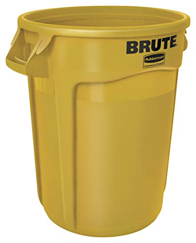 Rubbermaid Commercial Products FG263200YEL BRUTE Heavy-Duty Round Trash/Garbage Can, 32-Gallon, Yellow (Yellow Trash Can For Bedroom)