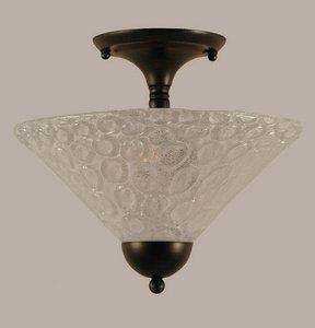 Toltec Lighting 120-MB-441 Two Light Semi-Flush Mount, Matte Black Finish with Italian Bubble Glass