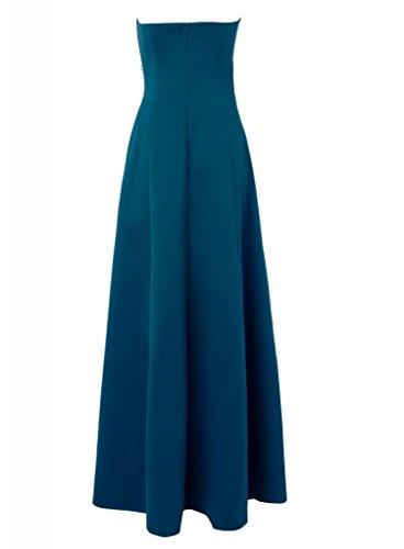 GEORGE BRIDE Einfache traegerlose Satin Brautjungfernkleid / Abendkleid mit Perlen Applikationen auf der Taille Marineblau JPLu5e0gd