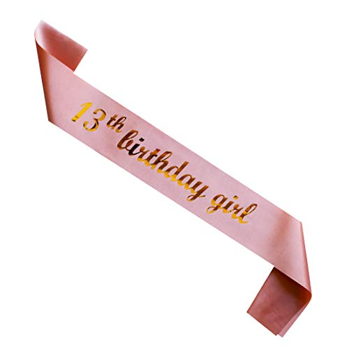 MAGJUCHE 13th Birthday Girl sash, Rose Gold Girl 13 Years Birthday Gifts Party Supplies, Pink Party Decorations