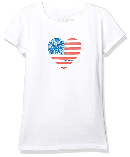 (Life is Good Girls Crusher Tee Watercolor Flag, Could White, Medium)