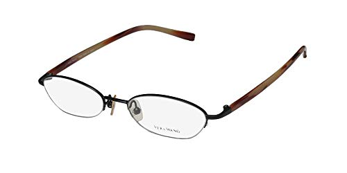 Vera Wang V138 Womens/Ladies Designer Half-rim Demo Lens Casual Made In Japan Eyeglasses/Glasses (48-17-135, Matte Black/Red Horn) (Brillen Made In Japan)