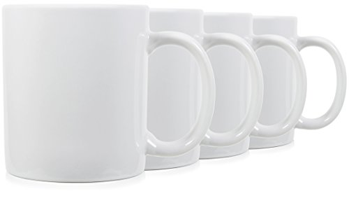 ssic Mugs for Coffee or Tea. Large Handle and Ceramic, Set of 4 by Serami ()