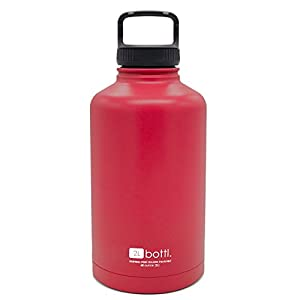 BOTTL - 68 oz Stainless Steel Bottle True 2L Beer Growler Bigger than 64oz water bottle (Red)