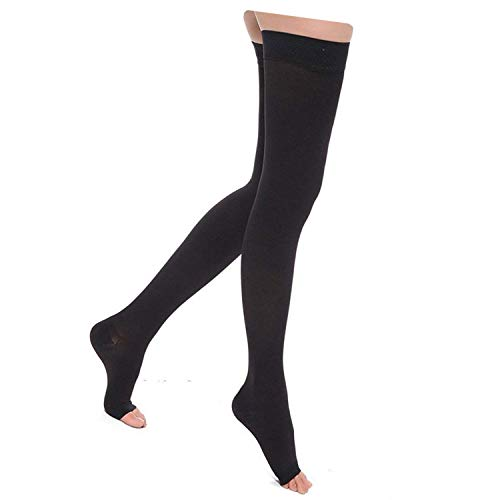 Starmace Thigh 20-30 mmHg Graduated Medical Compression Grade Circulation High Leg Swelling with Silicone Band Open Toe Socks (Black, Large)