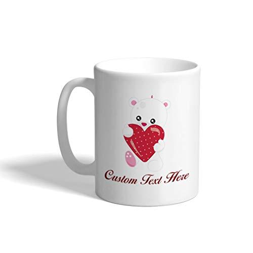 Custom Funny Coffee Mug Coffee Cup Polar Bear Heart White Ceramic Tea Cup 11 Ounces Personalized Text Here