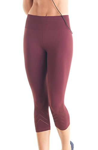 Lupo Women's Golden Fashion Sports Compression Capris, Small Wine