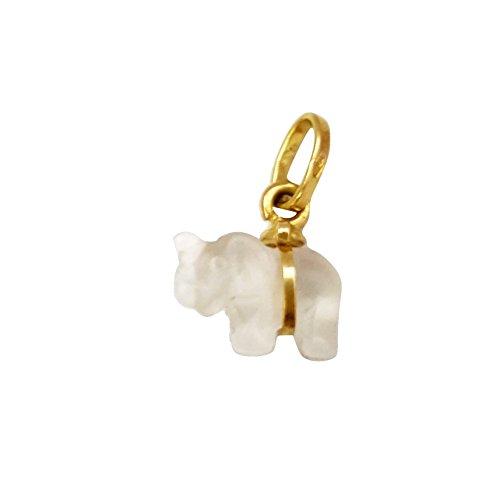 Pendentif Charm Éléphant en or 18carats et cristal de roche Gr.2.20-18K Gold Pendant