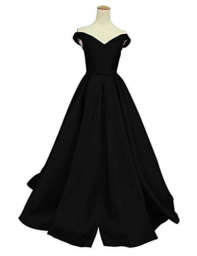 Duraplast Women's Off-The-Shoulder Dress Long Prom Gown With Bow US16 Black
