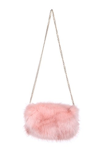 Clutch FSB19616 Faux Super Womens Chain Pink Size Soft Fur Lovely Comfortable w8ZZPzxqS