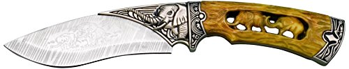Joker Decorative Knife with Carved Elephant, Yellow/Gray, 9.05-Inch
