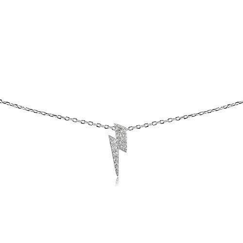 GemStar USA Sterling Silver Cubic Zirconia Lightning Bolt Dainty Choker Necklace