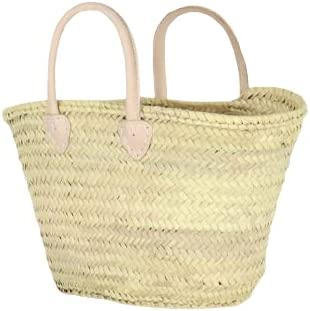 AnewStraw Basket Straw Market Basket bag with Long Natural Leather Handles - French Style Shopping and Grocery Bag