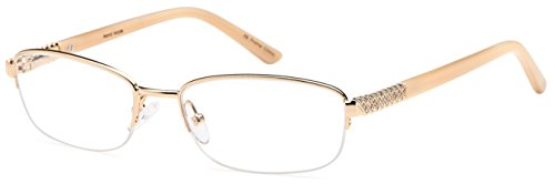 DALIX Womens High Class Semi-rimless Rx-able Eye Glasses 54-17-138 (Gold)