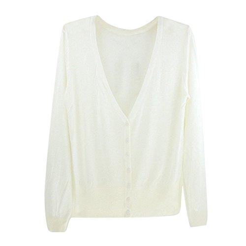 tricotes V a TOOGOO a minces col femmes la decontractes mode les Cardigans longues Chandails manches en Blanc Noir pour YEqqIw